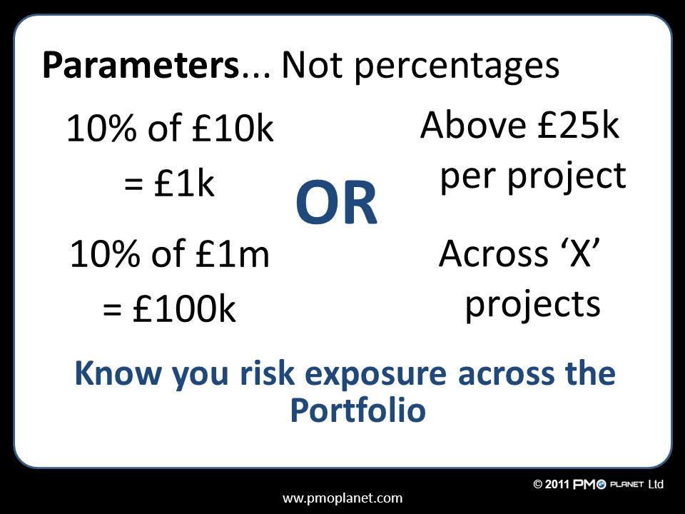 ww.pmoplanet.com © 2011Ltd Parameters... Not percentages 10% of £10k = £1k 10% of £1m = £100k Above £25k per project Across 'X' projects OR Know you r