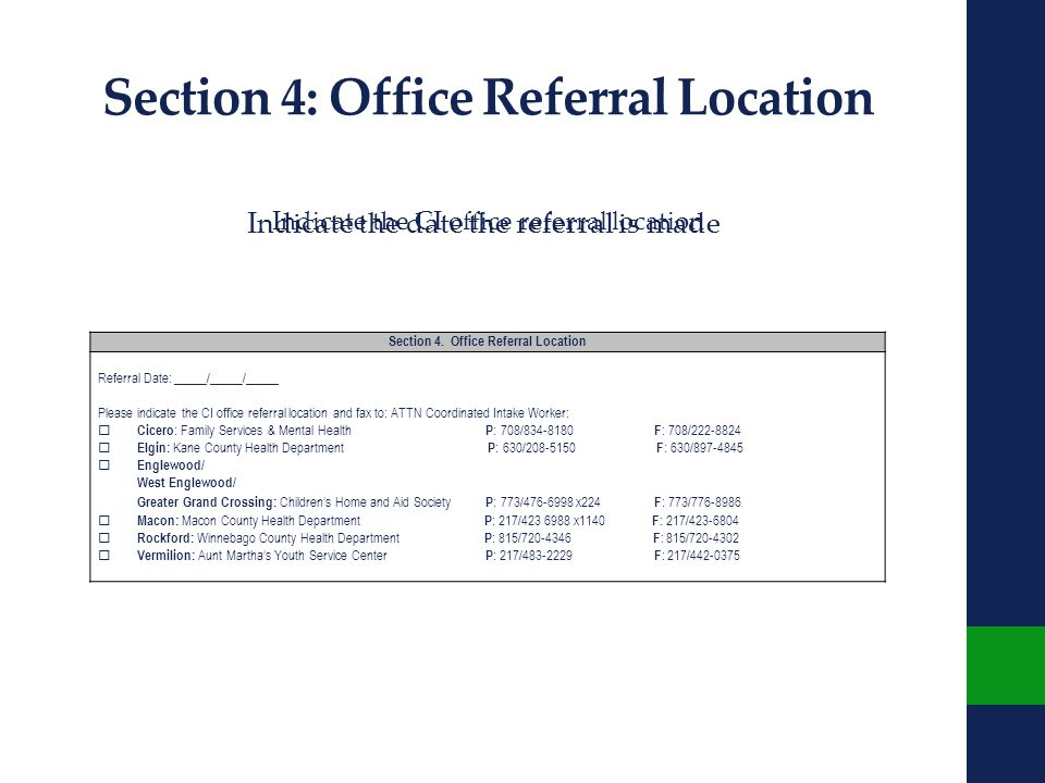 Section 4: Office Referral Location Section 4.