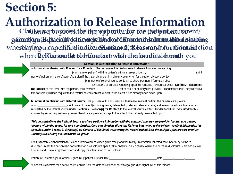 Section 5: Authorization to Release Information Clause a.