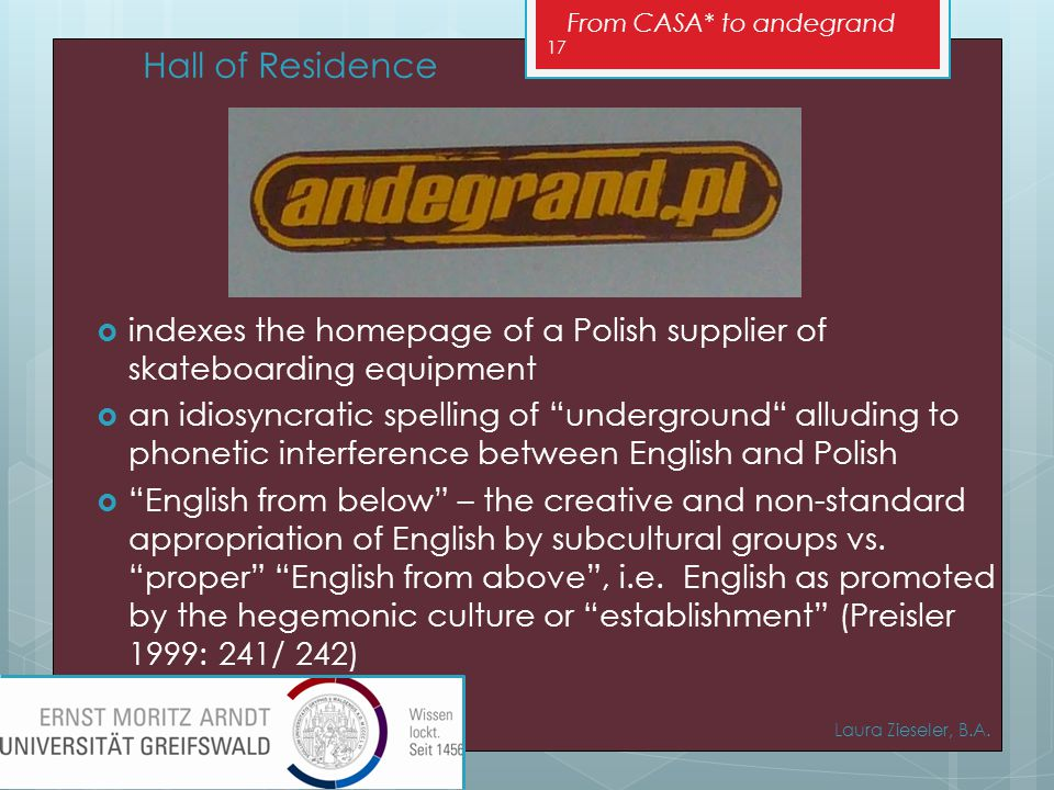From CASA* to andegrand  indexes the homepage of a Polish supplier of skateboarding equipment  an idiosyncratic spelling of underground alluding to phonetic interference between English and Polish  English from below – the creative and non-standard appropriation of English by subcultural groups vs.