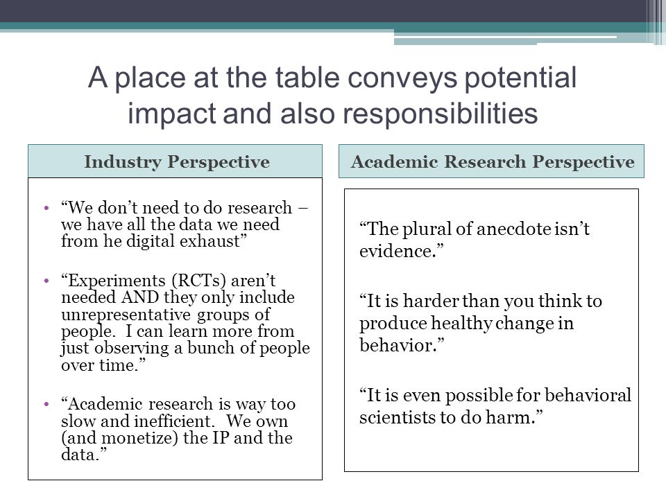 "A place at the table conveys potential impact and also responsibilities Industry PerspectiveAcademic Research Perspective ""We don't need to do researc"