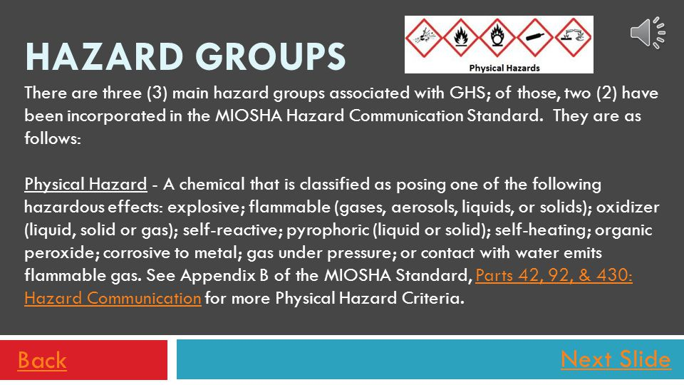 Next Slide Hazard statements also appear on the label based on the chemical hazard classification. Examples of hazard statements might include one or