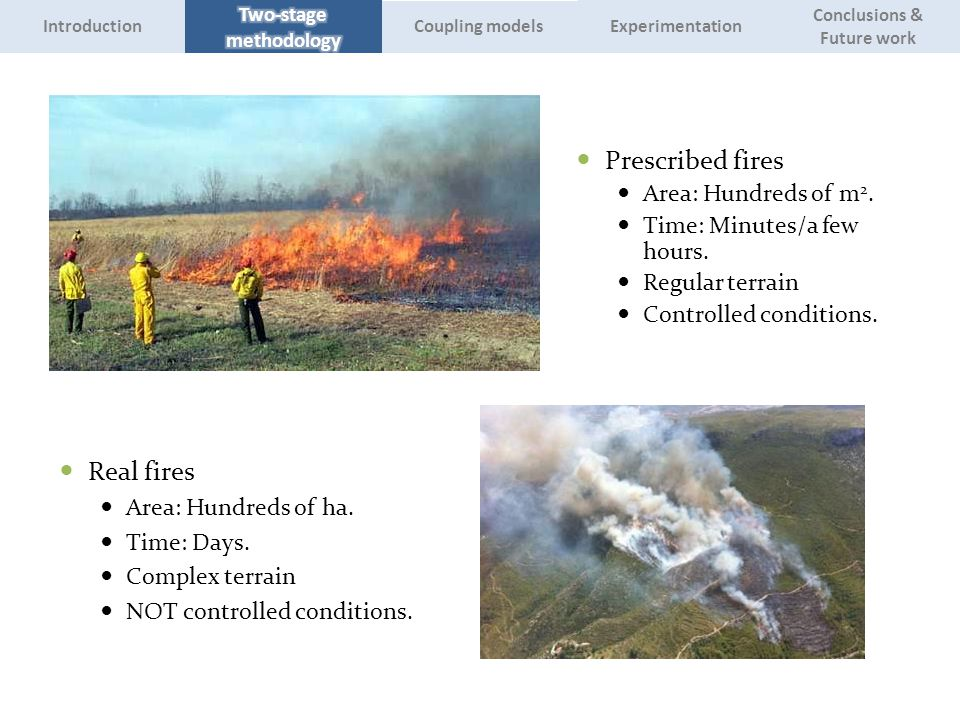 Prescribed fires Area: Hundreds of m 2. Time: Minutes/a few hours. Regular terrain Controlled conditions. Real fires Area: Hundreds of ha. Time: Days.