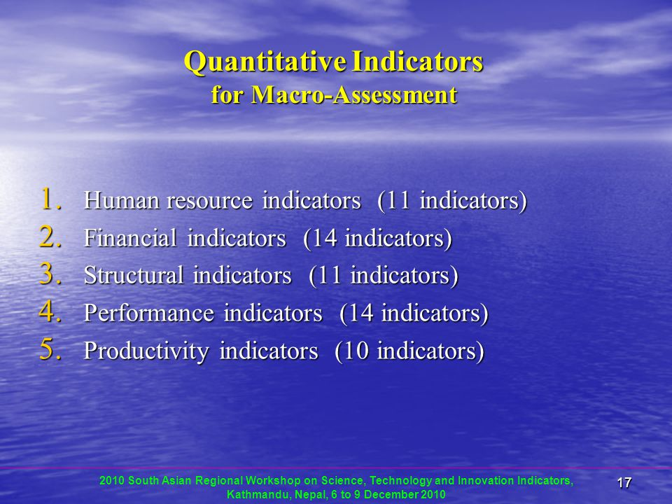 1717 Quantitative Indicators for Macro-Assessment 1.