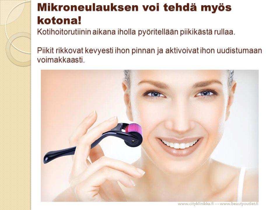 Aknearvet Ennen mikroneulaushoitoja Kolmen kuukauden viikoittaisen mikroneulauskäsittelyn jälkeen www.cityklinikka.fi --- www.beautyoutlet.fi