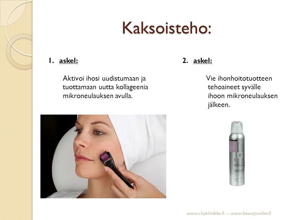 Ikääntymisen merkit Ennen hoitoa Neljän kuukauden kuluttua (yksi käsittely/viikko) www.cityklinikka.fi --- www.beautyoutlet.fi