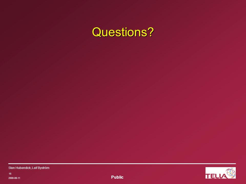 Public Sten Hubendick, Leif Byström 2000-08-11 15 Questions?