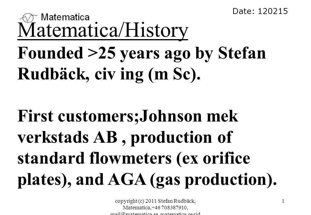 copyright (c) 2011 Stefan Rudbäck, Matematica,+46 708387910, mail@matematica.se, matematica.se sid 32 dp 2 Density transmitter (not GC) Orifice plate Gas flow Tube kg/h kg MW MWh dp 3 V-cone dp 1 dp 3 P abs Orifice plate + - 1.
