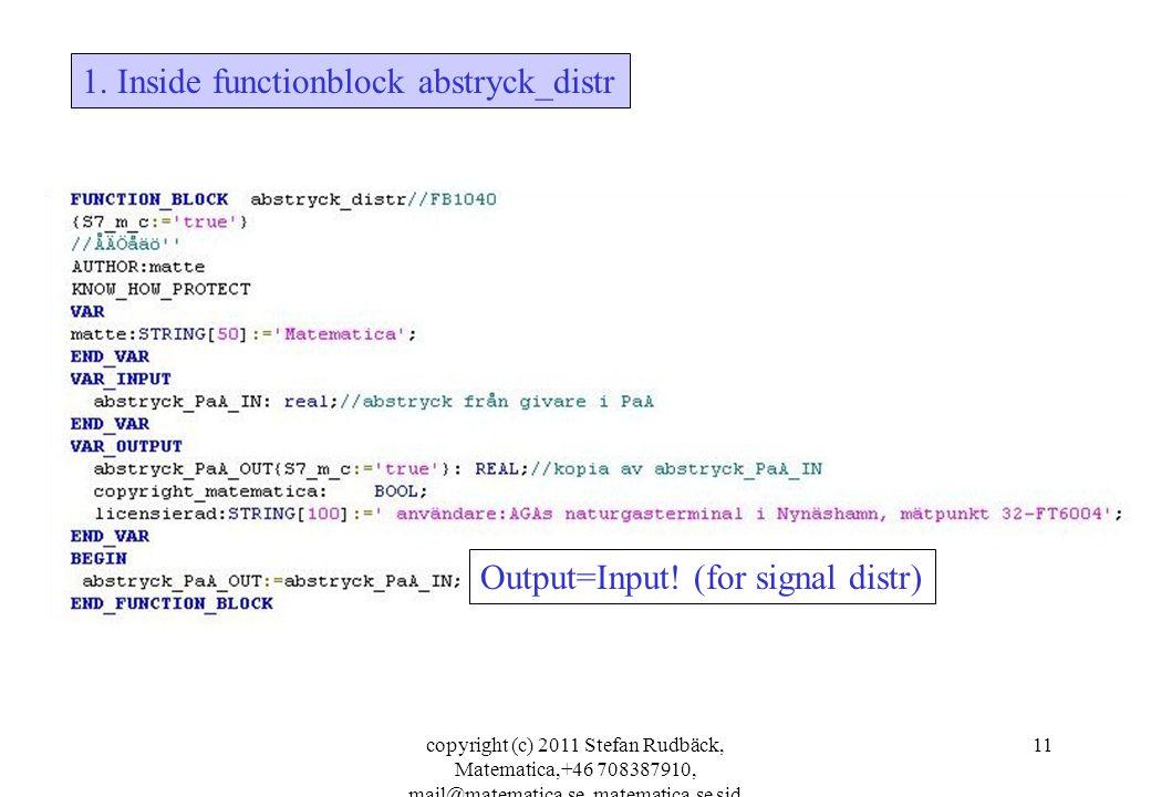 copyright (c) 2011 Stefan Rudbäck, Matematica,+46 708387910, mail@matematica.se, matematica.se sid 11 1. Inside functionblock abstryck_distr Output=In