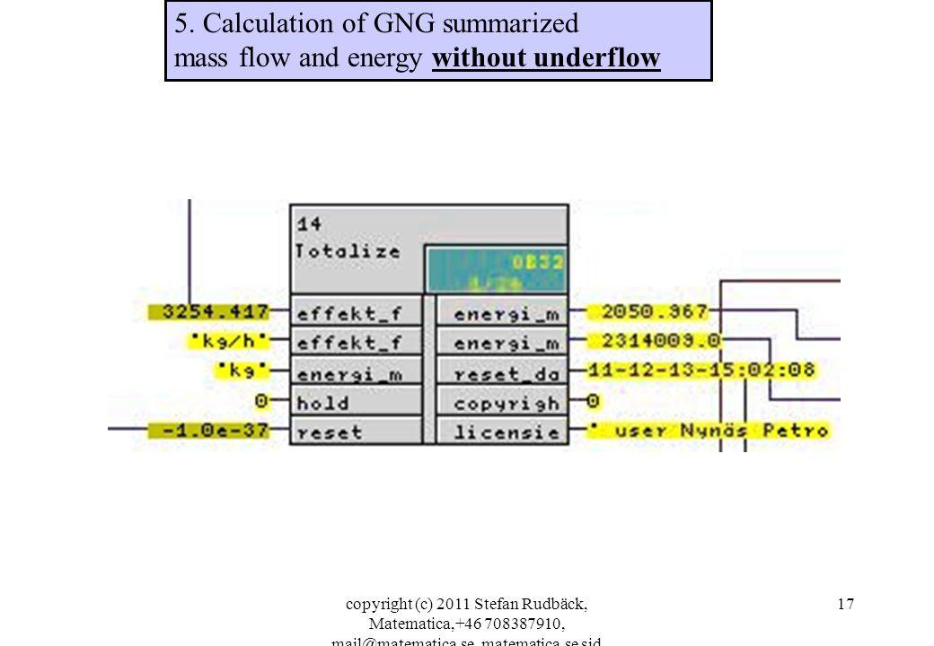 copyright (c) 2011 Stefan Rudbäck, Matematica,+46 708387910, mail@matematica.se, matematica.se sid 17 5. Calculation of GNG summarized mass flow and e