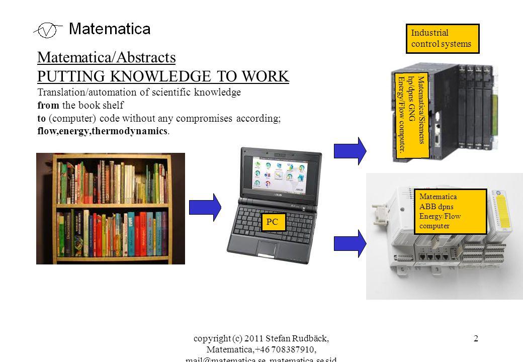 copyright (c) 2011 Stefan Rudbäck, Matematica,+46 708387910, mail@matematica.se, matematica.se sid 3 Date: 120215 Matematica/important customers AGA; Measurement of gasflows (O2, N2, GNG…).