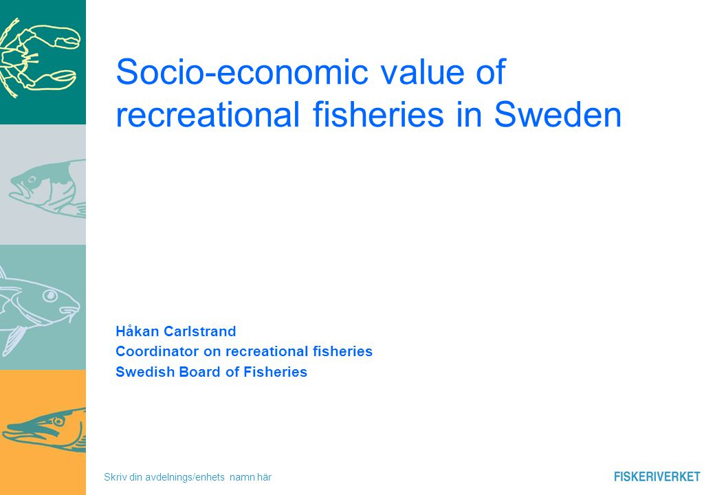 Skriv din avdelnings/enhets namn här Instruction - Swedish Board of Fisheries Management of fisheries -In coordinance with the Common Fisheries Policy -Strengthen fishing-tourism and increase possibilities for recreational fisheries - Other issues In the future -Reform of the CFP .