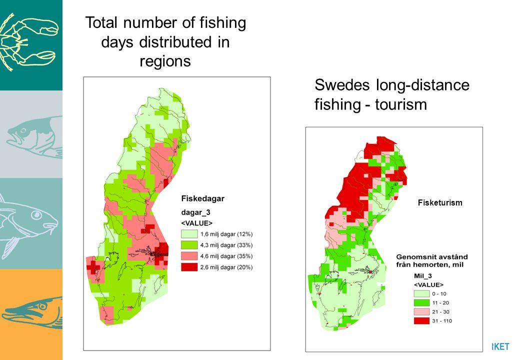 Skriv din avdelnings/enhets namn här Swedes long-distance fishing - tourism Fisketurism Total number of fishing days distributed in regions
