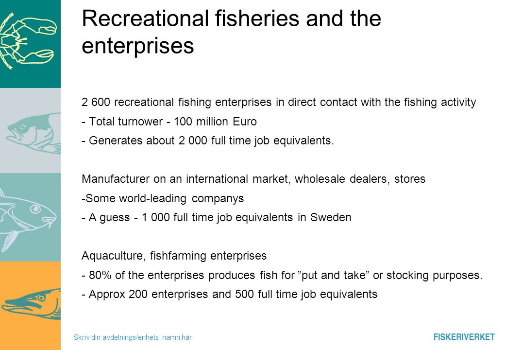 Skriv din avdelnings/enhets namn här Recreational fisheries and the enterprises 2 600 recreational fishing enterprises in direct contact with the fishing activity - Total turnower - 100 million Euro - Generates about 2 000 full time job equivalents.