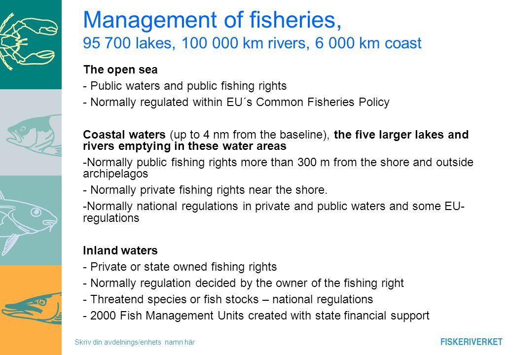 Skriv din avdelnings/enhets namn här Recreational fishing – principle for management Inland waters.