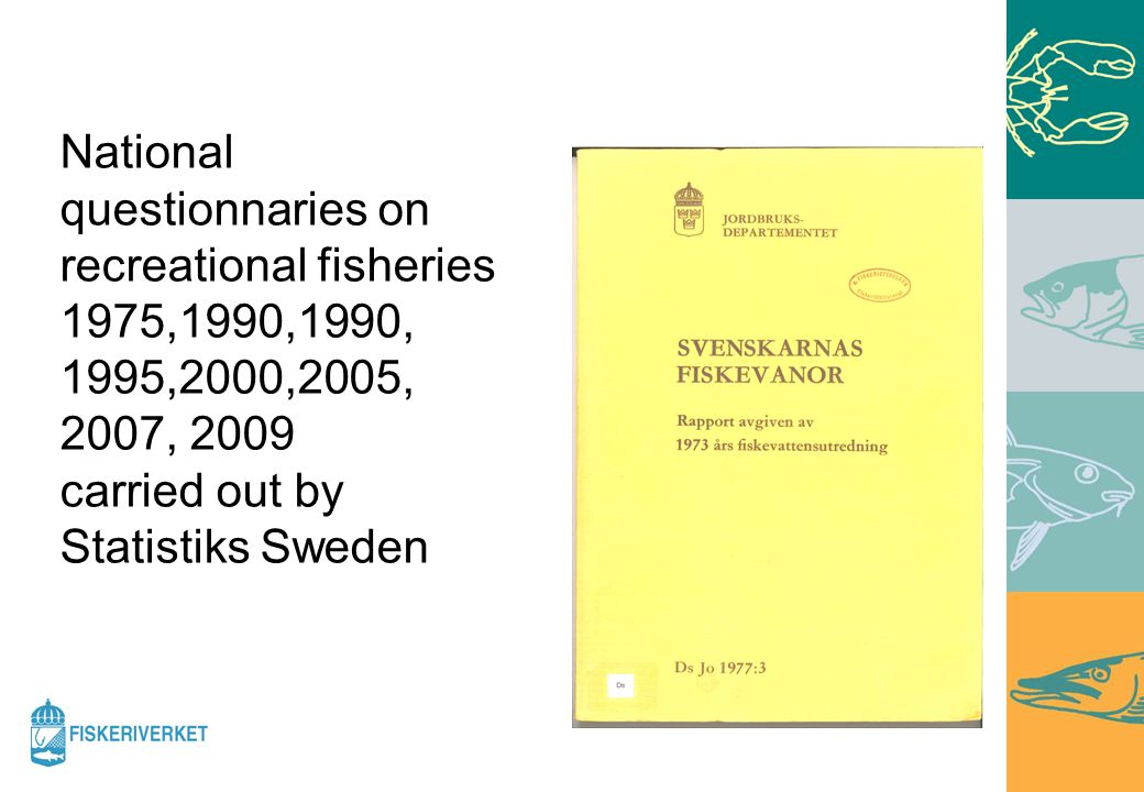 National questionnaries on recreational fisheries 1975,1990,1990, 1995,2000,2005, 2007, 2009 carried out by Statistiks Sweden