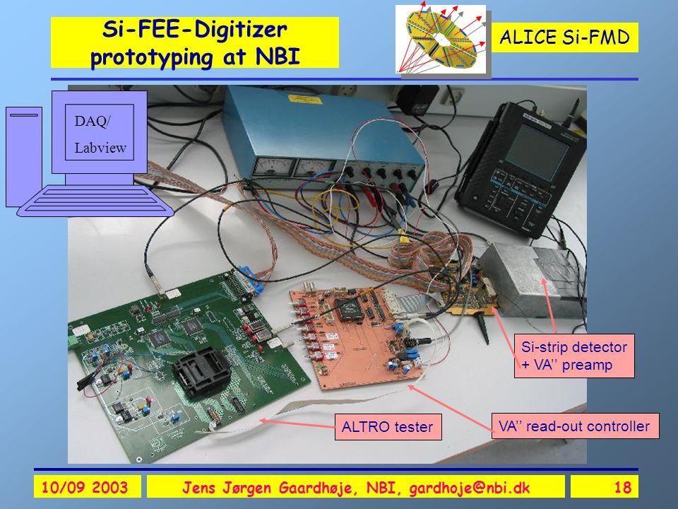 ALICE Si-FMD 10/09 2003Jens Jørgen Gaardhøje, NBI, gardhoje@nbi.dk18 Si-FEE-Digitizer prototyping at NBI ALTRO tester Si-strip detector + VA'' preamp VA'' read-out controller DAQ/ Labview