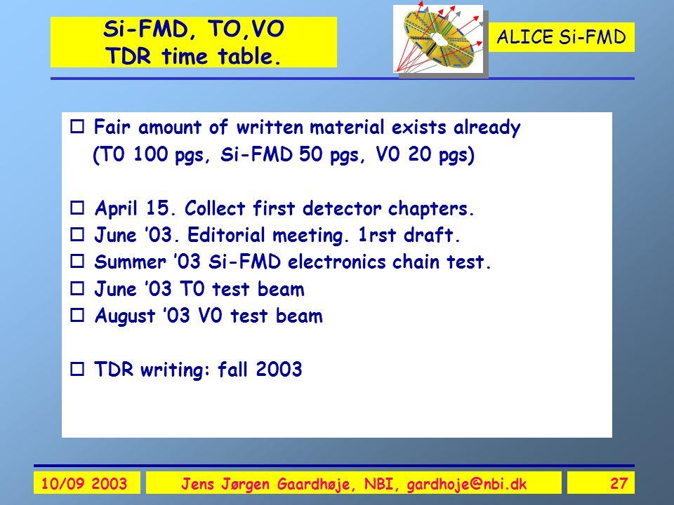 ALICE Si-FMD 10/09 2003Jens Jørgen Gaardhøje, NBI, gardhoje@nbi.dk27 Si-FMD, TO,VO TDR time table.