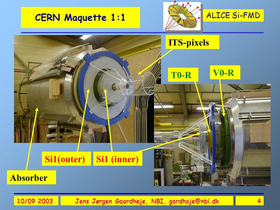 ALICE Si-FMD 10/09 2003Jens Jørgen Gaardhøje, NBI, gardhoje@nbi.dk4 CERN Maquette 1:1 Si1 (inner)Si1(outer) V0-R T0-R Absorber ITS-pixels