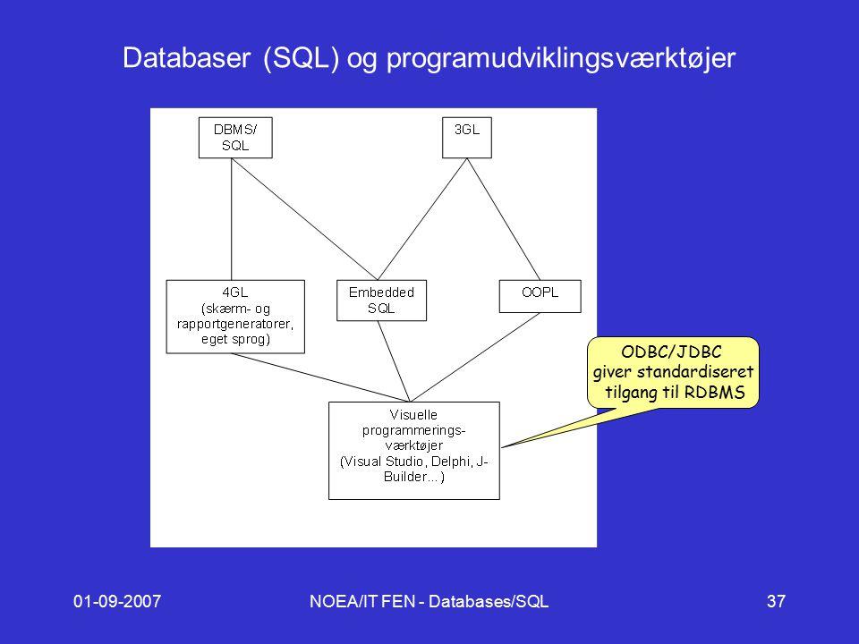 01-09-2007NOEA/IT FEN - Databases/SQL37 Databaser (SQL) og programudviklingsværktøjer ODBC/JDBC giver standardiseret tilgang til RDBMS