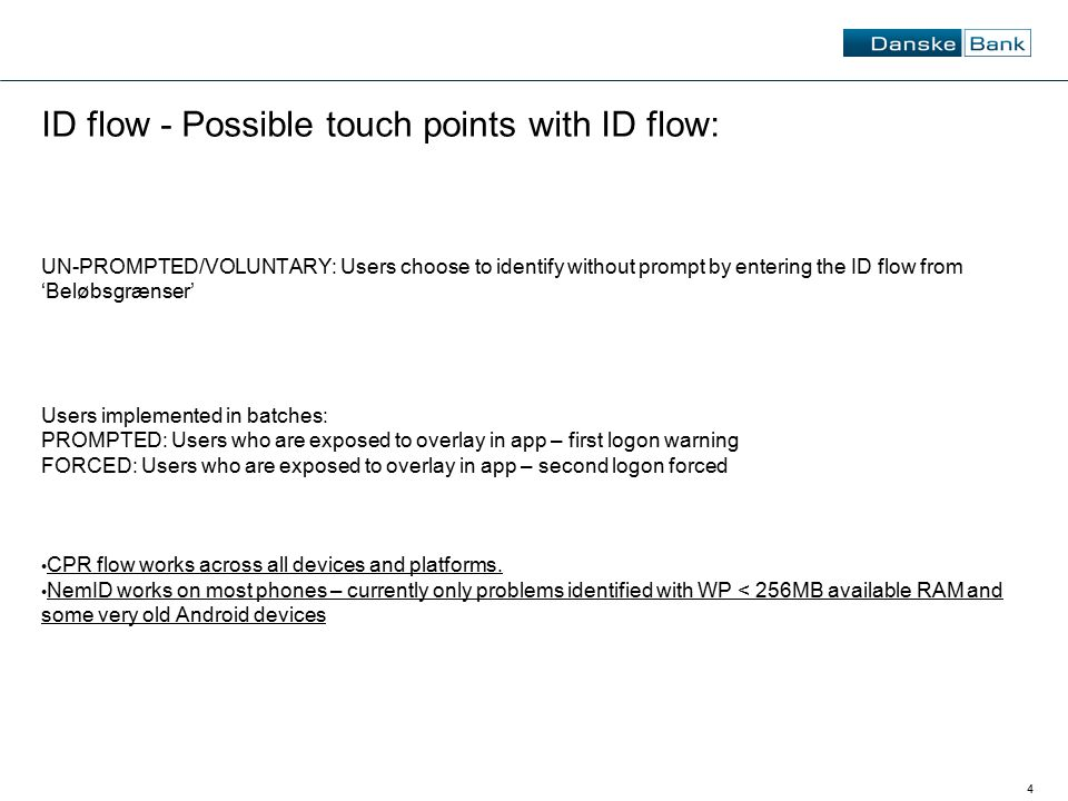 4 ID flow - Possible touch points with ID flow: UN-PROMPTED/VOLUNTARY: Users choose to identify without prompt by entering the ID flow from 'Beløbsgræ