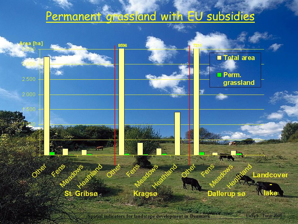 Spatial indicators for landscape development in Denmark Bernd Münier...LaSyS - Tune 2005 Permanent grassland with EU subsidies