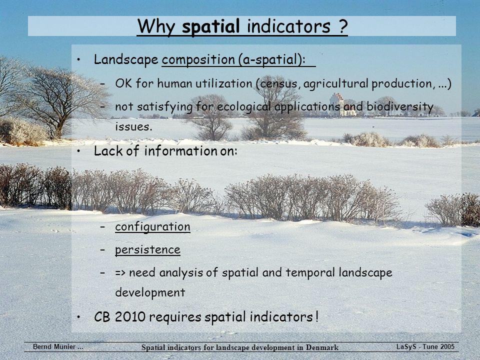 Spatial indicators for landscape development in Denmark Bernd Münier...LaSyS - Tune 2005 Why spatial indicators .