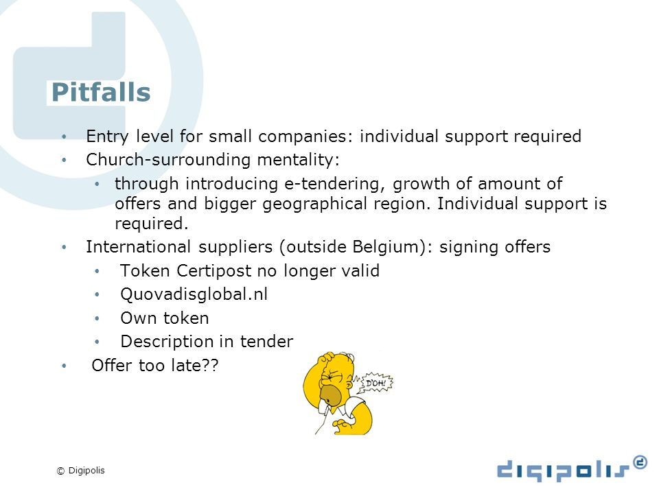 © Digipolis Pitfalls Entry level for small companies: individual support required Church-surrounding mentality: through introducing e-tendering, growth of amount of offers and bigger geographical region.