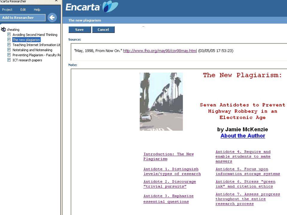 Teacher reactions to three software Encarta Researcher Open Mind Swesum A work shop Focus groups