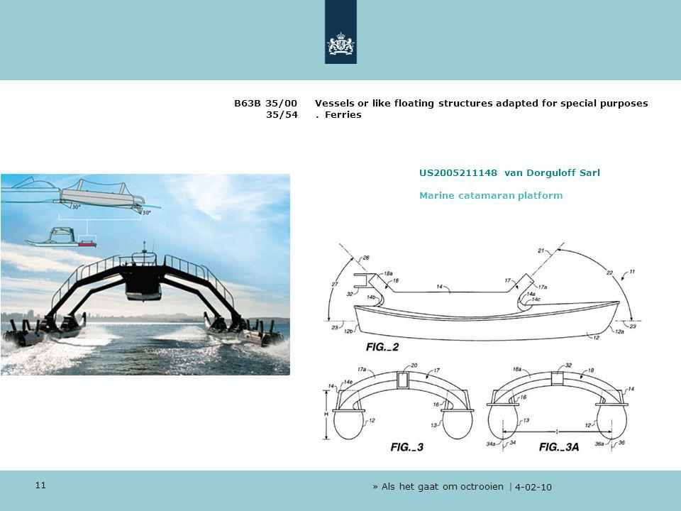 » Als het gaat om octrooien | 4-02-10 11 B63B 35/00 Vessels or like floating structures adapted for special purposes 35/54.