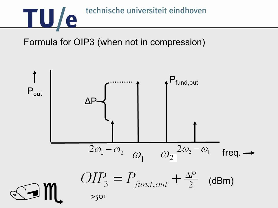 // Formula for OIP3 (when not in compression) P fund,out ΔP freq. P out (dBm) 2