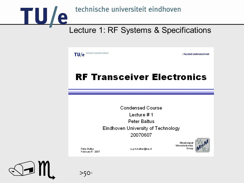 // Lecture 1: RF Systems & Specifications