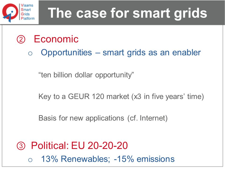 The case for smart grids ② Economic o Opportunities – smart grids as an enabler ten billion dollar opportunity Key to a GEUR 120 market (x3 in five years' time) Basis for new applications (cf.