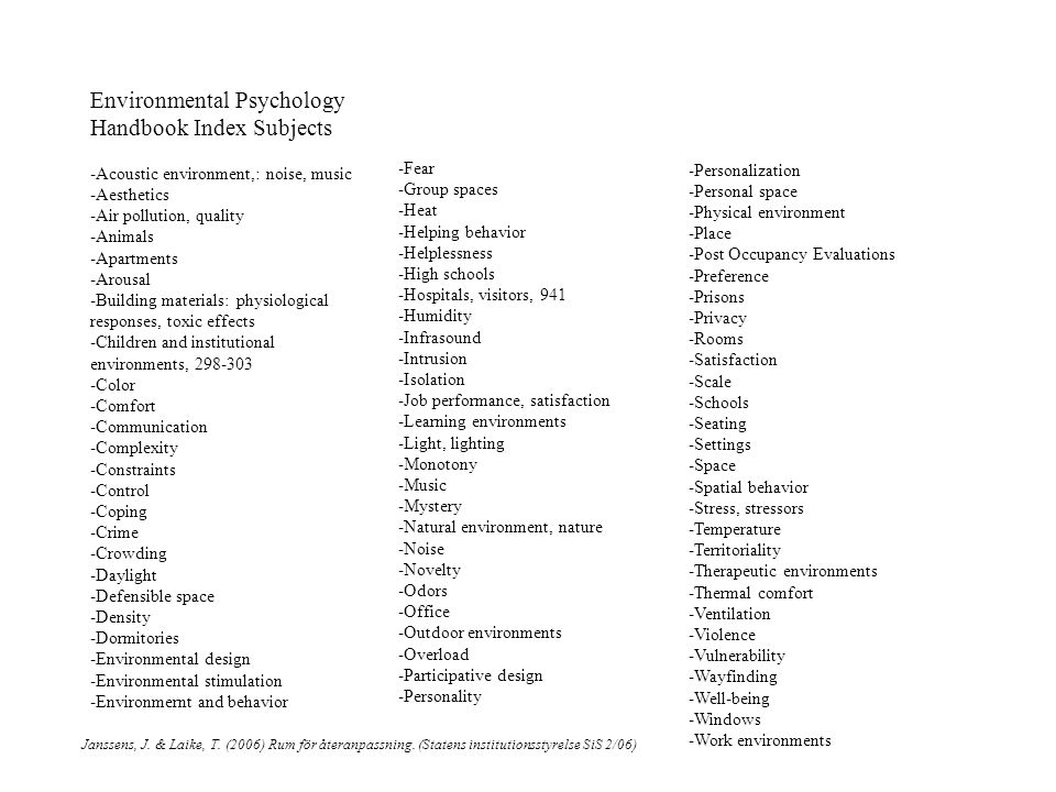 Environmental Psychology Handbook Index Subjects -Acoustic environment,: noise, music -Aesthetics -Air pollution, quality -Animals -Apartments -Arousal -Building materials: physiological responses, toxic effects -Children and institutional environments, 298-303 -Color -Comfort -Communication -Complexity -Constraints -Control -Coping -Crime -Crowding -Daylight -Defensible space -Density -Dormitories -Environmental design -Environmental stimulation -Environmernt and behavior Janssens, J.