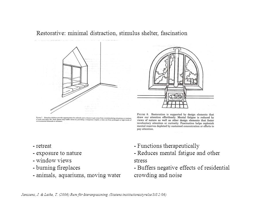 Restorative: minimal distraction, stimulus shelter, fascination Janssens, J.