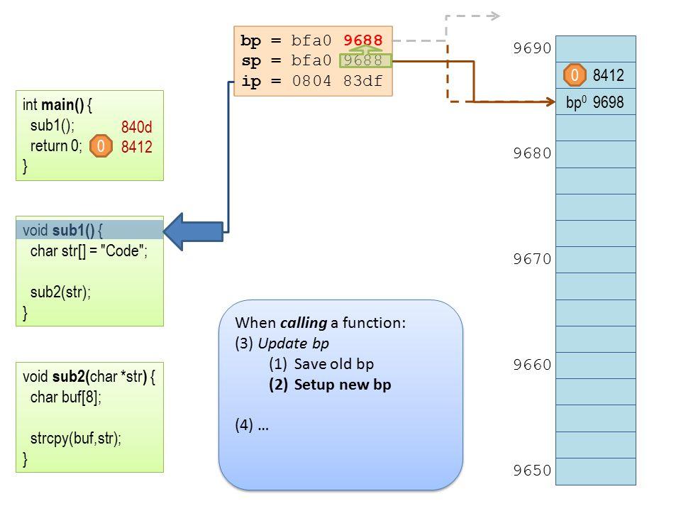 bp = bfa0 9688 sp = bfa0 9688 ip = 0804 83df 8412 bp 0 9698 9690 9680 9670 9660 9650 int main() { sub1(); return 0; } void sub1() { char str[] = Code ; sub2(str); } void sub2( char *str ) { char buf[8]; strcpy(buf,str); } 840d 8412 0 0 When calling a function: (3) Update bp (1)Save old bp (2)Setup new bp (4) … When calling a function: (3) Update bp (1)Save old bp (2)Setup new bp (4) …