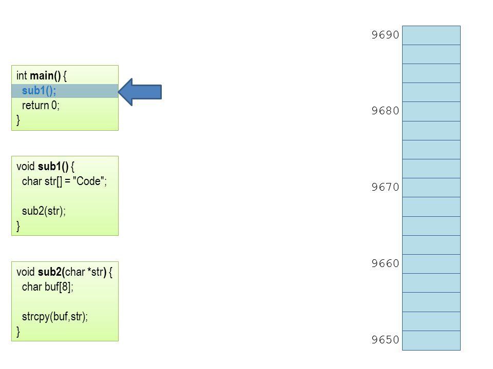 9690 9680 9670 9660 9650 int main() { sub1(); return 0; } void sub1() { char str[] = Code ; sub2(str); } void sub2( char *str ) { char buf[8]; strcpy(buf,str); }