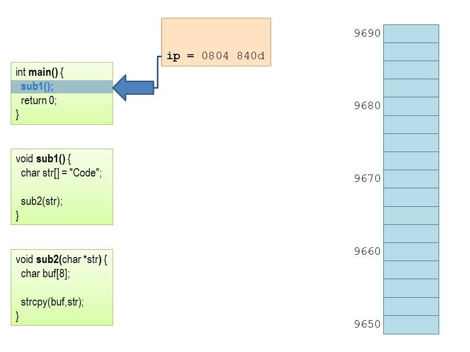 ip = 0804 840d 9690 9680 9670 9660 9650 int main() { sub1(); return 0; } void sub1() { char str[] = Code ; sub2(str); } void sub2( char *str ) { char buf[8]; strcpy(buf,str); }