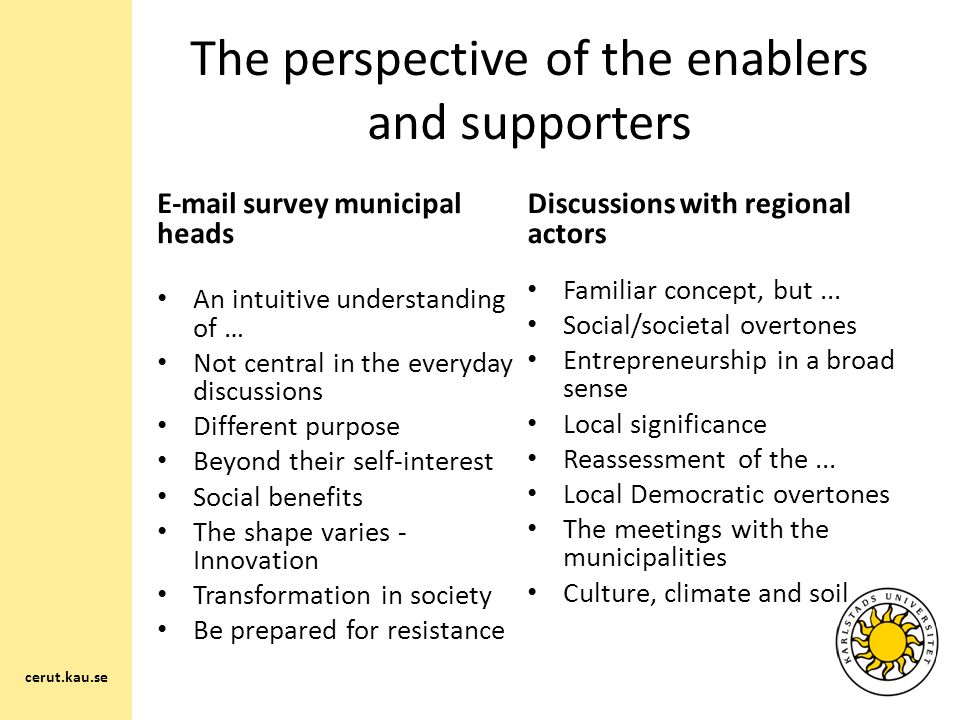 The perspective of the enablers and supporters E-mail survey municipal heads An intuitive understanding of … Not central in the everyday discussions Different purpose Beyond their self-interest Social benefits The shape varies - Innovation Transformation in society Be prepared for resistance cerut.kau.se Discussions with regional actors Familiar concept, but...