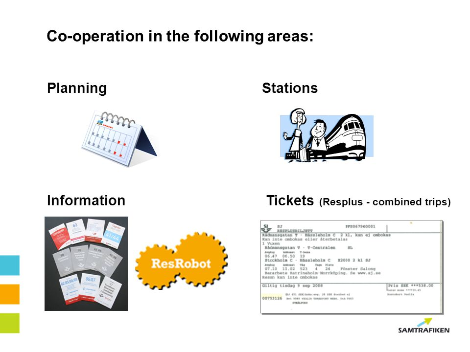 Co-operation in the following areas: PlanningStations InformationTickets (Resplus - combined trips)