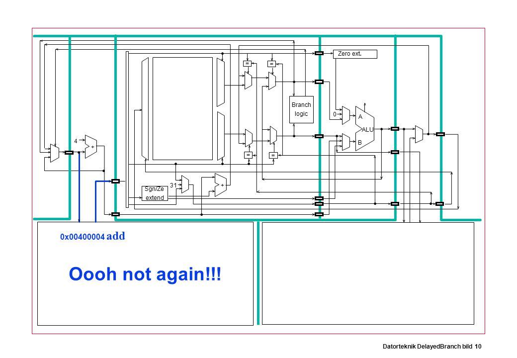 Datorteknik DelayedBranch bild 10 Branch logic Sgn/Ze extend Zero ext.