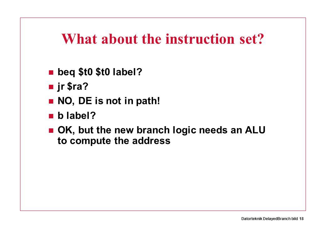 Datorteknik DelayedBranch bild 18 What about the instruction set.