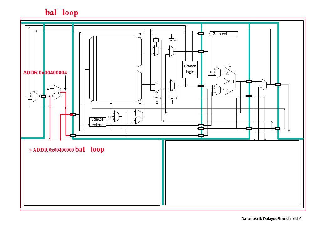 Datorteknik DelayedBranch bild 6 Branch logic Sgn/Ze extend Zero ext.