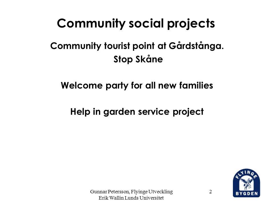 Gunnar Petersson, Flyinge Utveckling Erik Wallin Lunds Universitet 13 Community research projects Community meetingpoints.