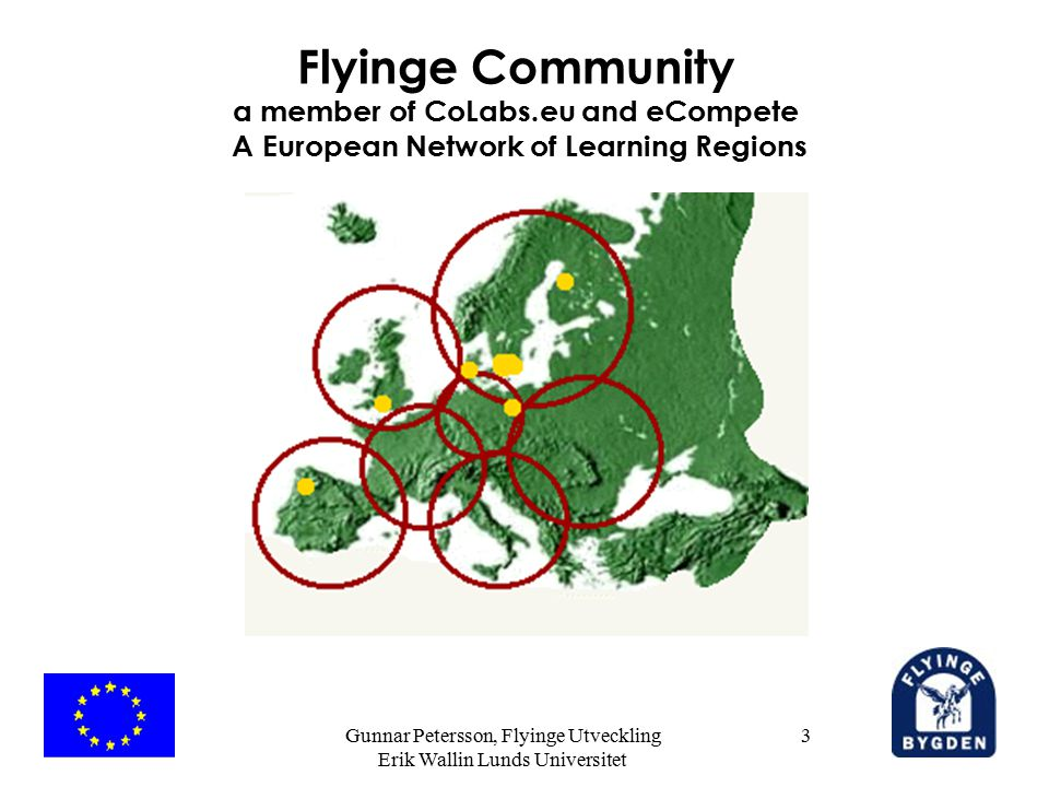 Gunnar Petersson, Flyinge Utveckling Erik Wallin Lunds Universitet 3 Flyinge Community a member of CoLabs.eu and eCompete A European Network of Learning Regions