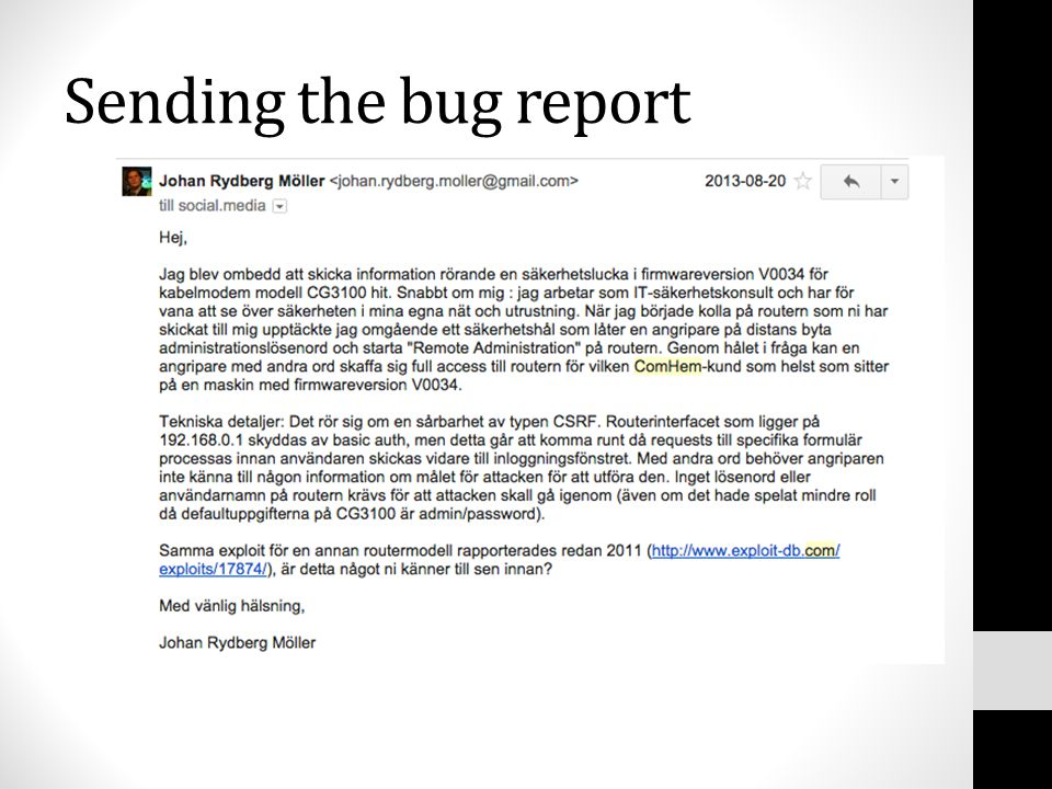 Sending the bug report