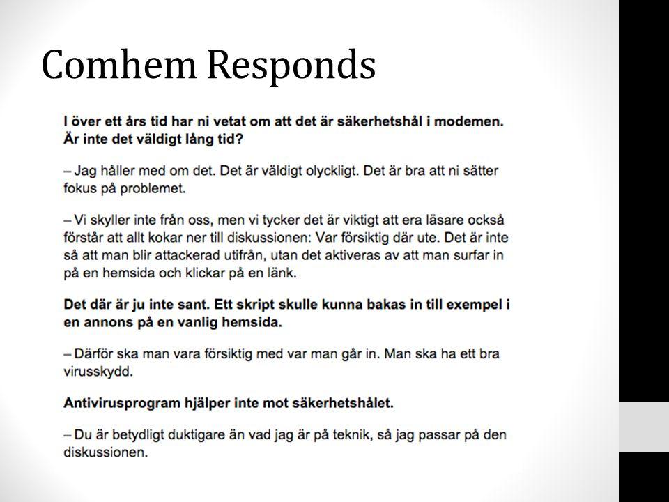 Comhem Responds