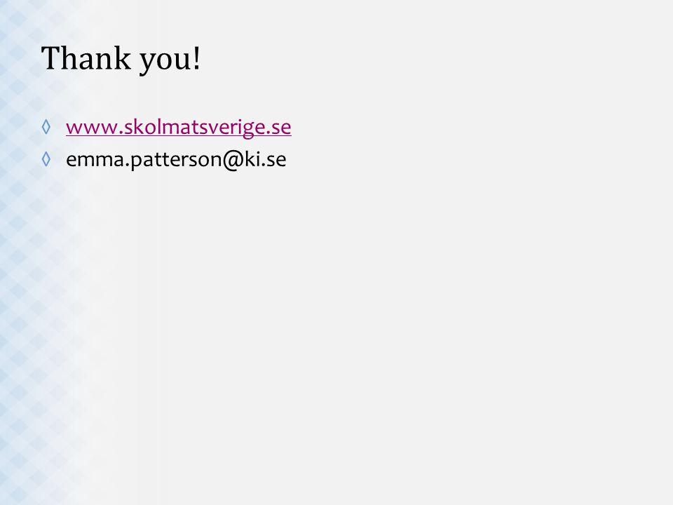 Thank you! ◊www.skolmatsverige.sewww.skolmatsverige.se ◊emma.patterson@ki.se