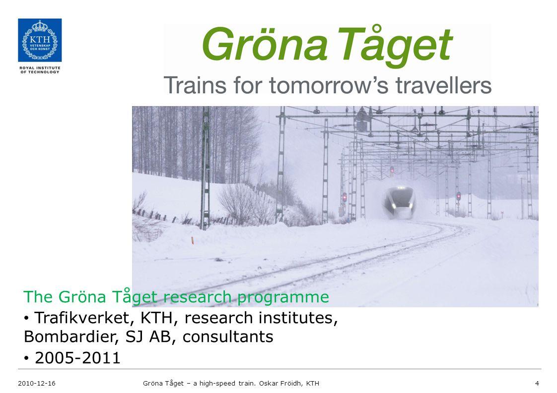 GrönA Tåget research programme 2010-12-16Gröna Tåget – a high-speed train.