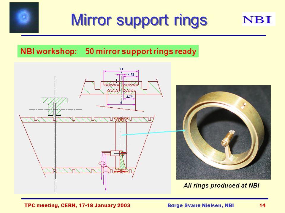 TPC meeting, CERN, 17-18 January 2003Børge Svane Nielsen, NBI14 Mirror support rings NBI workshop: 50 mirror support rings ready All rings produced at NBI